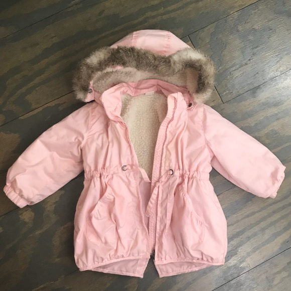 high fashion best sale quality and quantity assured Toddler Girls Pink Parka w/ Fur Hood. Size 2T